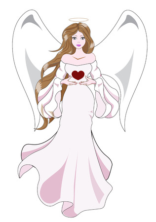 queen of angels: The fantastic angel, the brunette, holds in hand heart, a Valentines Day card
