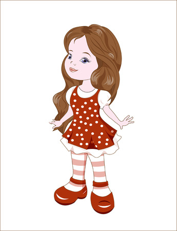red dress: the little lovely girl with long hair, in a red dress in white peas