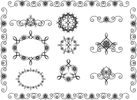with loops: loops pattern with flower motives and the stylized flowers Illustration