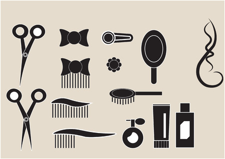 hairdressing salon: set of small black icons hairdressing salon Illustration