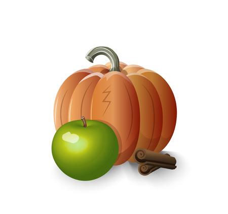 pumpkin pie: pumpkin, apple, cinnamon -- ingredients of apple pumpkin pie with cinnamon, pie stuffing