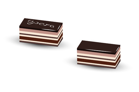 soaked: Opera cake  is a French dessert, it made with layers of almond sponge cake, soaked in coffee syrup, layered with ganache and coffee, and covered in a chocolate glaze Illustration