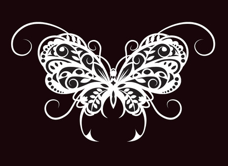 Vytynanka - a silhouette black white butterfly from pattern elements. Illustration