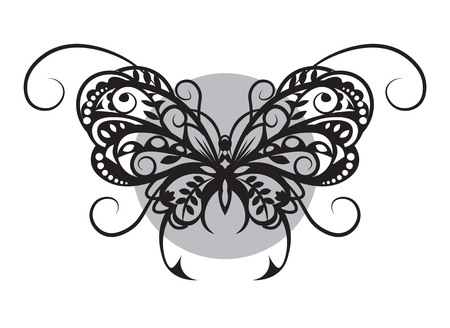 cliche: Vytynanka - a silhouette black white butterfly from pattern elements. Illustration