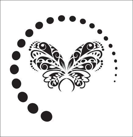 two black white butterfly, in style of a tattoo, drawing by ink
