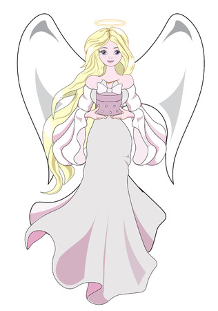 The beautiful fantastic Christmas angel, the blonde holds in hand a gift