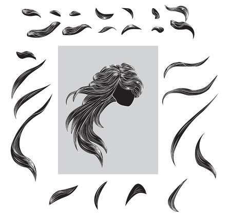 black wigs: the hair divided into ringlets, a part of hair