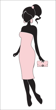 the girl in a pink dress, with ear rings, a silhouette 矢量图像