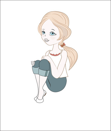 the little beautiful girl, sits having clasped knees with hands, in jeans