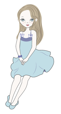 The little girl in a blue dress, sits and looks at you
