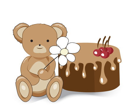 The teddy bear sits with a flower, and cherry chocolate cake