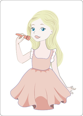 the little girl blonde acts, sings the song Illustration