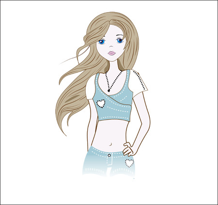 the girl in jeans shorts, a jacket, with the hair flying downwind Illustration