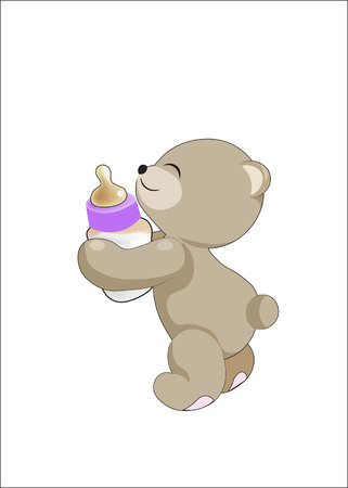The teddy bear holds a small bottle with milk in hand