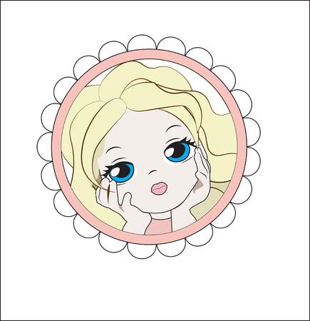 Face of the lovely little girl the blonde in a flower frame Illustration