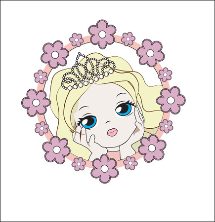 Face of the lovely little princess girl the blonde, in a flower frame