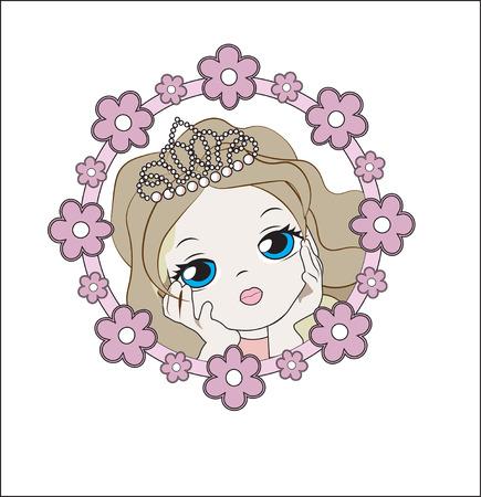 face of the lovely little princess girl, in a flower frame Illustration