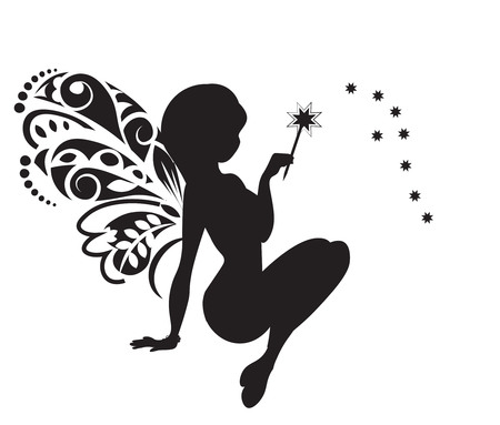 silhouette of the fairy with wings and a magic wand