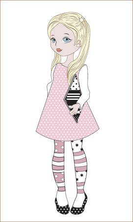 strip shirt: the little girl in a pink dress with the book Illustration