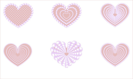 pearls and threads: Pink glamourous heart with a pearl beads. Illustration