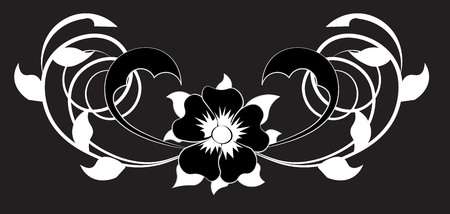 beautiful flower pattern, with spirals and leaves, it is black white Illustration
