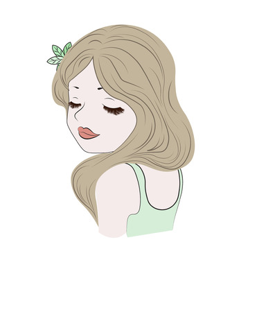 the beautiful girl in a wreath, with fluffy eyelashes, has closed eyes and dreams,  the girl loves the nature, resolves environmental issues Illustration