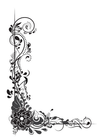 Mooie bloemenhoekrand. Stock Illustratie