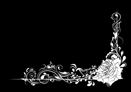 beautiful flower pattern, spirals and rose, black and white