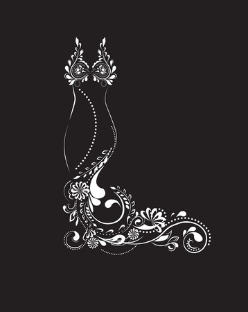 beautiful evening dress from a flower pattern, black white Illustration