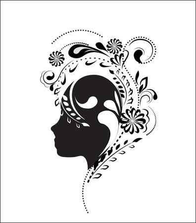 schönes Gesicht des Mädchens, Silhouette, in einem Blumenmuster, ein Rahmen