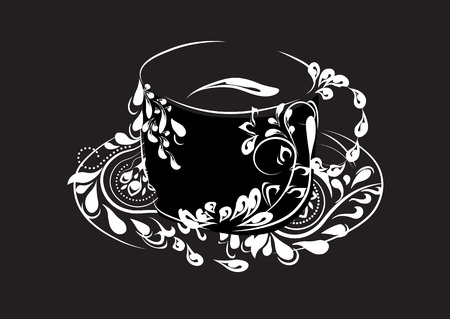 the stylized cup with a flower pattern, coffee, tea, cocoa