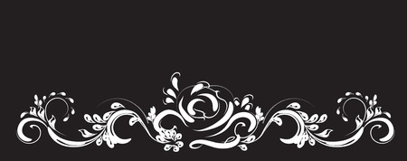 beautiful vintage flower pattern, white on a black background, drawings of monograms on nails Illustration