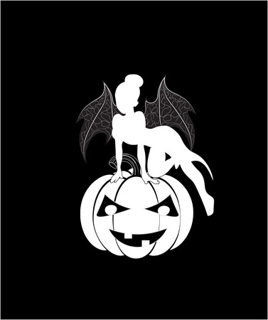 Halloween fairy on pumpkin, with wings of a devil