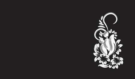 黒の背景に、美しい白い花のパターン  イラスト・ベクター素材