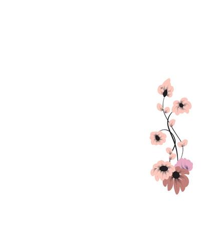 白い背景の上の美しいピンク色の花のパターン