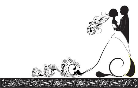 Silhouette du marié et de la mariée, invitation de mariage Vecteurs
