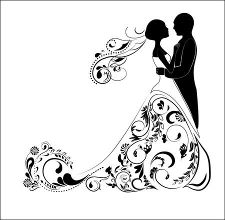 Silhouet van bruidegom en bruid, voor bruiloft uitnodiging