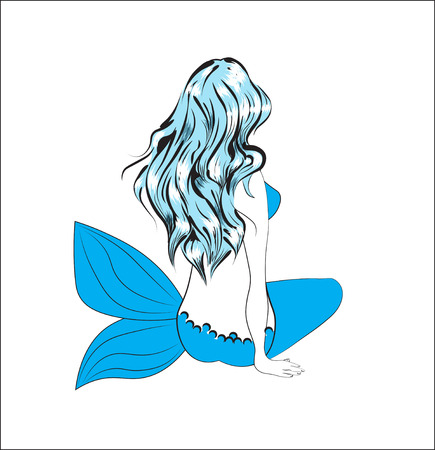 The girl the mermaid, with long blue hair, sits and longs Ilustração