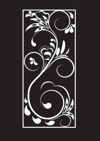 Beautiful vintage flower pattern, white on a black background, drawings of monograms on nails