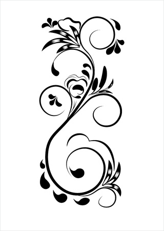 Beautiful vintage flower pattern, black on a white background, drawings of monograms on nails