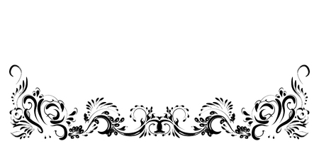 Beautiful vintage flower pattern, black on a white background, drawings of monograms