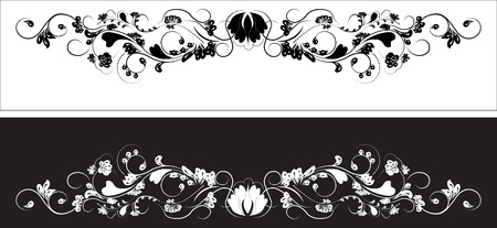 beautiful vintage flower pattern, white on a black background, drawings of monograms