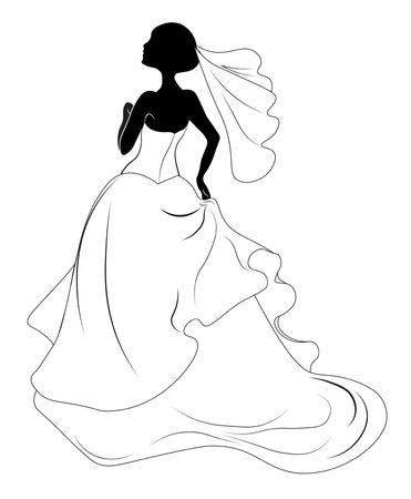 Silhouette of the bride, for wedding invitation 矢量图像