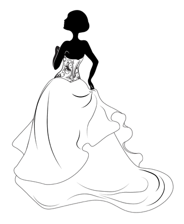 Silhouette of the bride, for wedding invitation Illustration