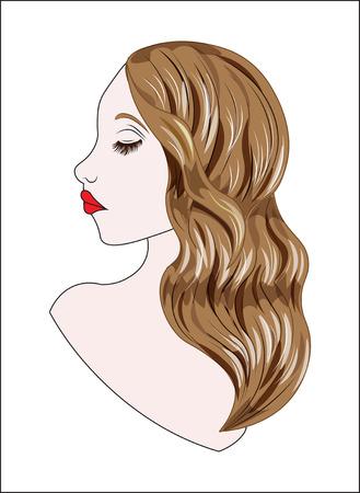 De prachtige mysterieuze vrouw, met een krullend haar, brunette