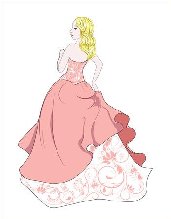 de mooie mysterieuze vrouw, met een gouden krullend haar, prinses in roze jurk