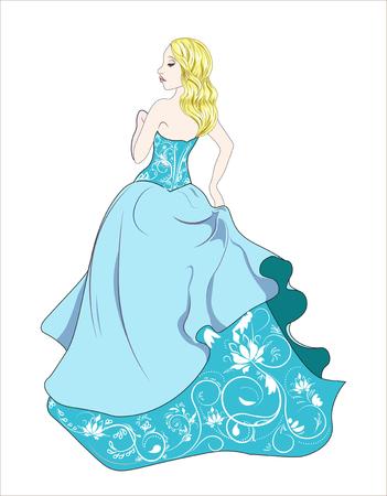 De mooie mysterieuze vrouw, met goud krullend haar, prinses in blauwe jurk