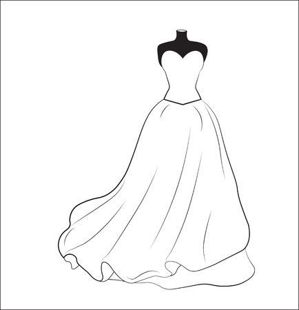 sketch of a white wedding dress on a dummy, a silhouette
