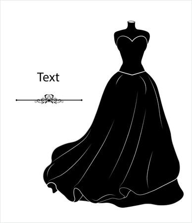 sketch of a wedding dress on a dummy, a silhouette