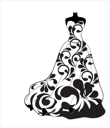 Sketch of a wedding flower dress on a dummy illustration. Illustration
